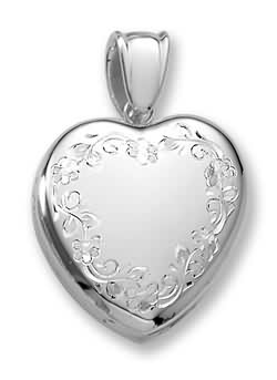 Gorgeous sterling silver floral heart locket