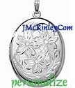 Sterling silver  extra large  oval locket flowers