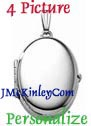 Plain sterling silver four picture locket