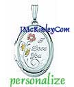 Small sterling silver oval I Love You locket