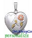 Sterling silver floral heart locket