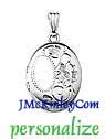 Small sterling silver Flower locket engraveable with an init