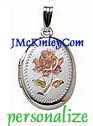 Small sterling silver oval flower locket tricolor