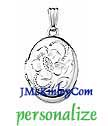 Small sterling silver oval locket with big flower