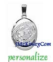 Small sterling silver oval flower locket