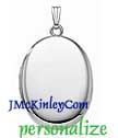 Plain sterling silver extra large locket oval engraveable