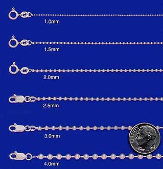 sterling silver ball chains bead chains